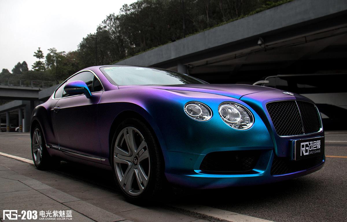 现代朗动_宾利欧陆汽车改色贴膜电光紫魅蓝